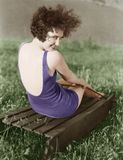 妇女画象游泳衣的 图库摄影