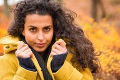 妇女画象秋天背景风吹的头发 库存图片