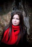妇女画象红色围巾的有长的深色的头发的在冷的黑暗的森林里 免版税库存图片
