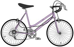 妇女10速度自行车 免版税图库摄影
