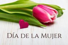 妇女` s与西班牙语的天卡片措辞` DAaa de la Mujer ` 库存图片