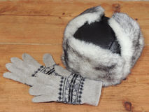 妇女` s冬天帽子和手套 库存图片