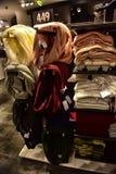 妇女` s围巾在商店待售 库存图片