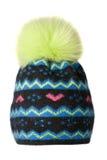 妇女` s帽子 在白色背景隔绝的被编织的帽子 上色 库存照片