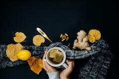 妇女` s手用茶,柠檬,温度计,姜片剂和烘干在黑背景的叶子 免版税库存图片