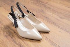妇女` s有小猫脚跟的3礼鞋 免版税库存照片