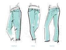 妇女` s牛仔裤适合 库存例证