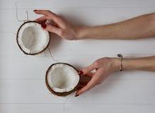 妇女` s递拿着在白色背景的两个椰子 免版税库存图片