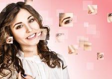 妇女` s面孔从不同的零件收集了 免版税图库摄影