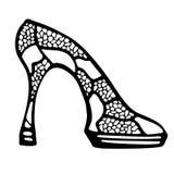 以妇女` s鞋子的形式创造性的设计,脚跟 免版税库存图片