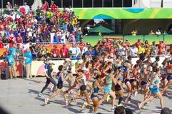 妇女` s马拉松跑在Rio2016 库存图片