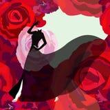 妇女& x28抽象剪影; model& x29;在黑礼服 免版税图库摄影