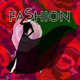 妇女& x28抽象剪影; model& x29;在黑礼服 免版税库存图片