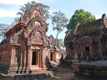 妇女Banteay Srei,柬埔寨寺庙  库存图片