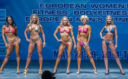 妇女Bodyfitness冠军在秋明州 俄国 图库摄影