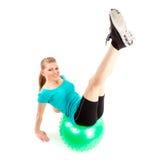 妇女fitball锻炼 免版税库存图片