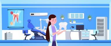 妇女Holding Tooth Over Dental医生办公室内部牙医医院或诊所概念 向量例证