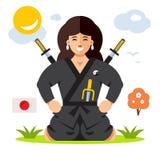 妇女Ninja 传染媒介平的样式五颜六色的动画片 向量例证