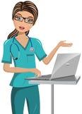 妇女Surgeon Laptop Speaking医生 免版税库存图片
