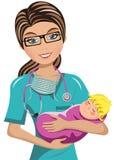 妇女Surgeon Newborn医生 免版税库存照片