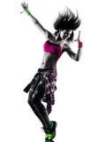 妇女zumba健身行使舞蹈家跳舞被隔绝的剪影 免版税库存照片