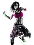 妇女zumba健身行使舞蹈家跳舞被隔绝的剪影 库存图片