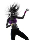 妇女zumba舞蹈家跳舞行使剪影 免版税库存图片