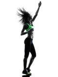 妇女zumba舞蹈家跳舞行使剪影 免版税图库摄影