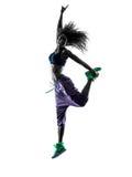 妇女zumba舞蹈家跳舞行使剪影 免版税库存照片