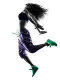 妇女zumba舞蹈家跳舞行使剪影 库存图片
