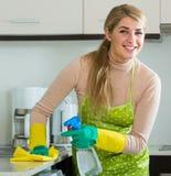 主妇清洁在家庭厨房里 库存照片