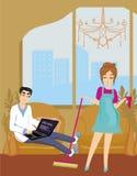主妇清洗屋子 免版税库存图片