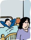 妈咪和儿子上床时间 库存图片