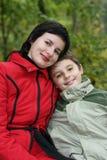 妈咪和儿子 库存图片