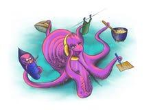 妈妈参与种田Octopussy 免版税库存照片