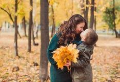 妈妈和儿子在秋天公园走 愉快的系列 秋天概念查出的白色 库存图片