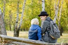 妈妈和儿子在秋天森林里坐日志 回到视图 库存照片
