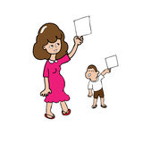 妈妈和儿子空白纸 免版税库存照片
