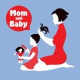 妈妈和女儿 向量例证