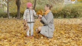 妈妈和婴孩在公园收集黄色叶子 妈妈亲吻她的女儿 免版税库存图片
