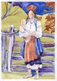 妈妈和婴孩水彩 库存照片