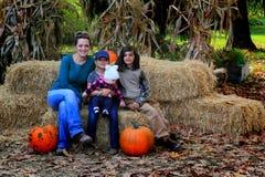 妈妈和家庭在南瓜补丁 库存图片