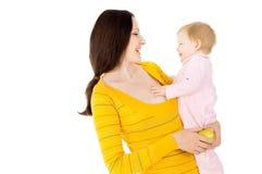 妈妈和小男孩导致健康生活方式 免版税库存照片