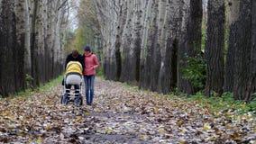 妈妈和爸爸在有一个新出生的婴孩的森林走 影视素材