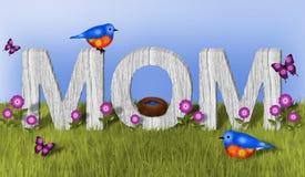 妈妈和蓝鸫 库存照片