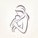 妈妈和婴孩风格化传染媒介标志 皇族释放例证