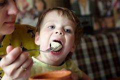 妈妈哺养的儿子用饺子 库存图片
