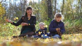 妈妈年轻家庭有投掷叶子的孩子的在公园放松在一晴朗的秋天天 t 3840x2160 4K 股票视频