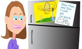 妈妈的喜爱的冰箱美术画廊 图库摄影