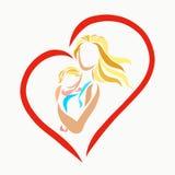 妈妈轻轻地拥抱婴孩,心脏 库存例证